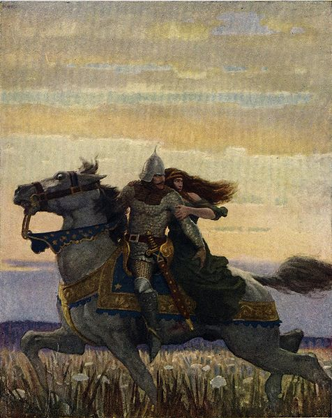 """Lancelot and Guinevere , 1922 - """"He rode his way with the queen unto Joyous Gard.""""N.C. Wyeth (1882–1945)"""