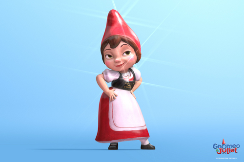 A promotional screensaver showing a scene from the movie where Juliet is prepared for her first date with Gnomeo.