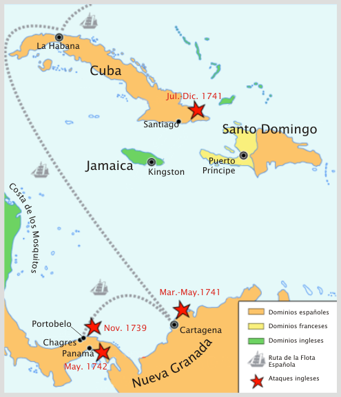 Map of key regions of the War of Jenkins' Ear and Battle of Cartegena