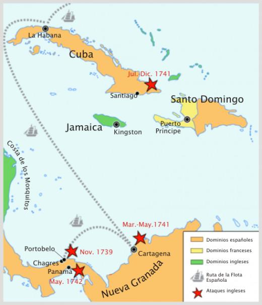 Map of key regions of the War of Jenkins' Ear and Battle of Cartegena
