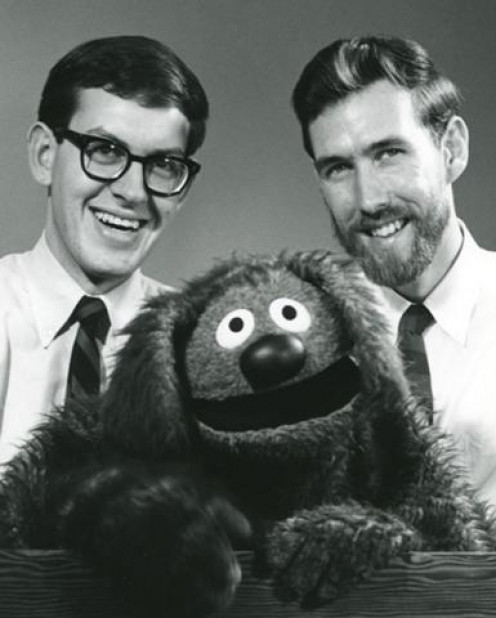 Frank Oz, Rowlf the Dog, and Jim Henson.