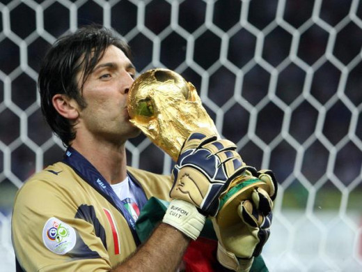 Buffon with the World Cup Trophy
