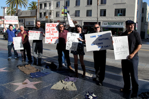 Skeptics protesting Camping in Hollywood.