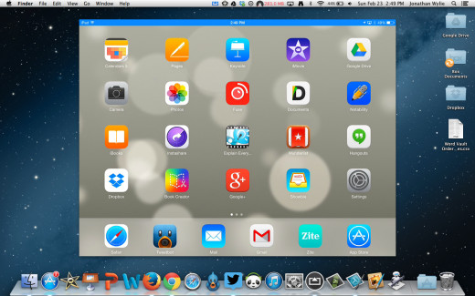 An iPad Connected to a Mac over AirPlay Using AirServer Mirroring Software