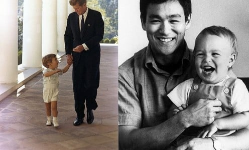John F. Kennedy and son John F. Kennedy Jr.,   at the White House in 1963. ,Bruce Lee and Son Brandon Lee a standard publicity style promotional photo.