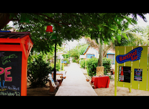 Placencia beach path. The road to the Barefoot Bar.