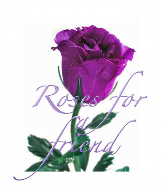 The rose symbolizes friendship.  This   purple rose is especially symbolic.