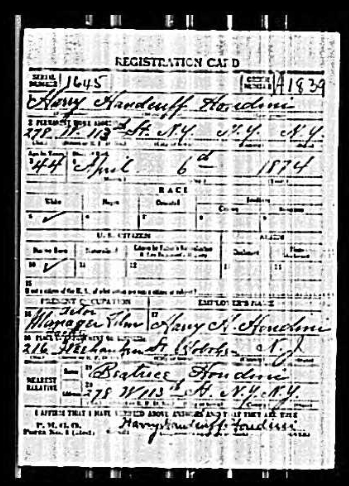 Harry Houdini's Draft Record