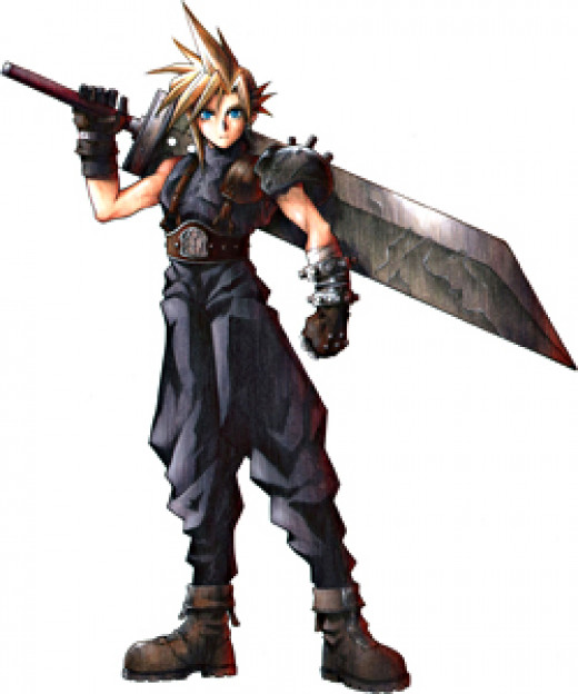 Cloud with his Buster Sword.