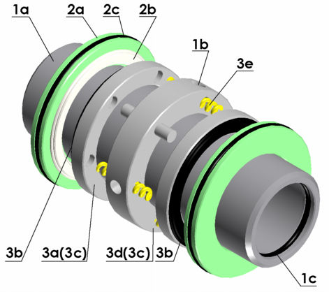 3D schematic of double mechanical seal. CAD(Computer Added Design) tools are best platform for College Projects