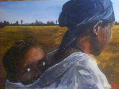 Painting of African woman carrying a child