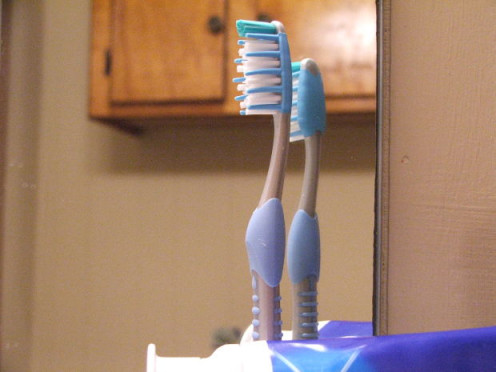A pair of toothbrushes
