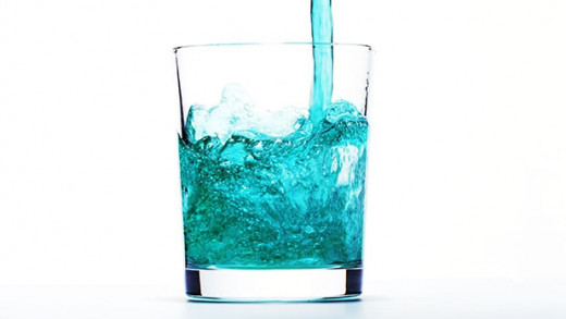 Mouth wash in glass cup