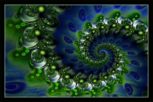 Green Spill. The same formula used to make a different fractal.