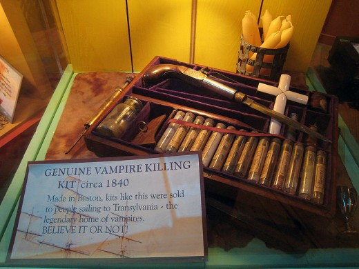 Get down to business and purchase a vampire killing kit like this one from the 1800s.
