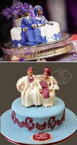 Traditional wedding cakes with bride and groom