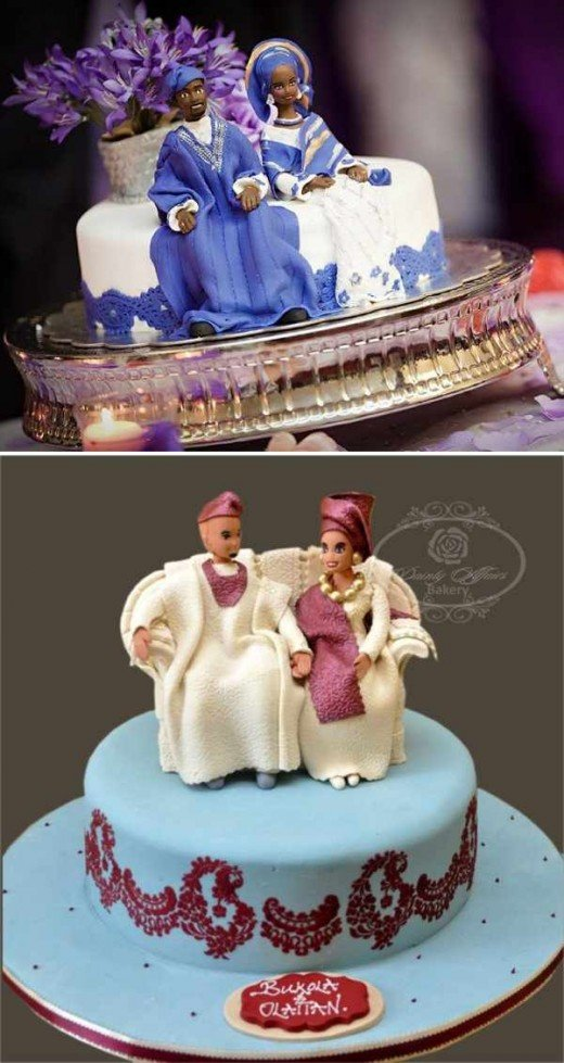 Traditional wedding cakes with bride and groom.