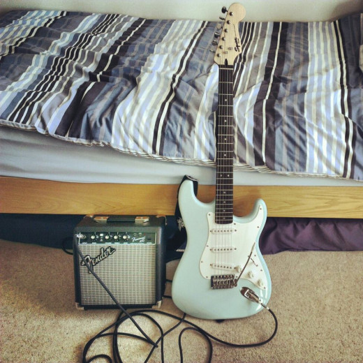 My Squier stratocaster in daphne blue