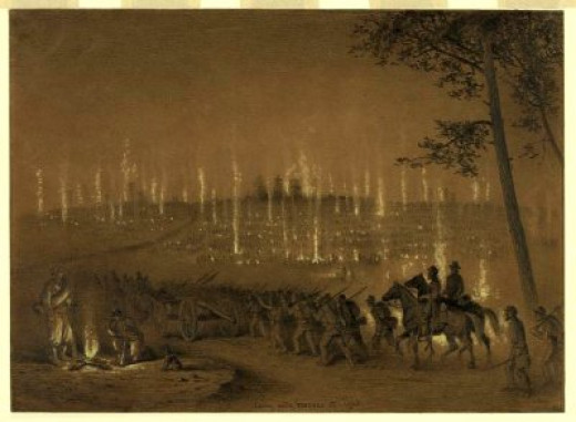 Sketch - Troops enter bivouac while on campaign