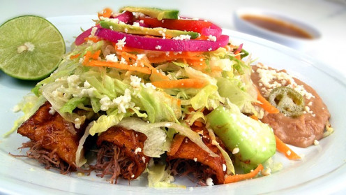 Enchiladas are a good pace to use the protein of grasshoppers, which will not be noticed among the other ingredients.