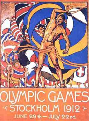 1912 Summer Olympics Poster by artist Olle Hjortzberg (1872-1959)