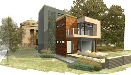"""A 3D-snapshot of the mkSolaire (or """"Smart House""""), a house design originally designed by Michelle Kaufmann, design is now owned by Blu Homes"""