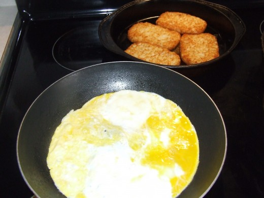 Prepare Scrambled Eggs And Ready-Made Hash Browns.
