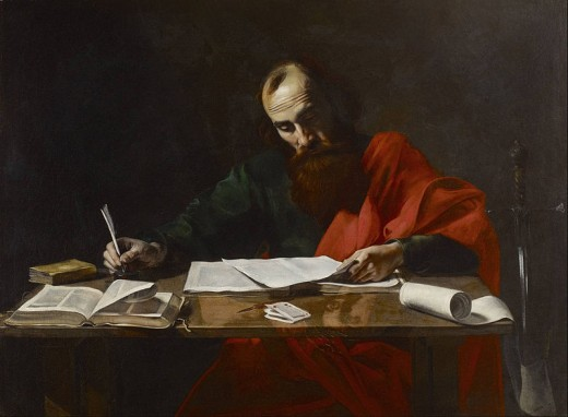 St. Paul writing the epistles. This work is in the public domain in the United States, and those countries with a copyright term of life of the author plus 100 years or less.