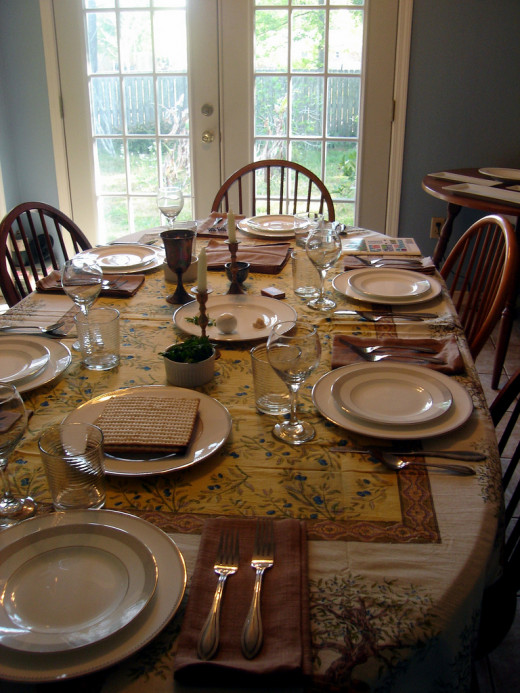 This table is set for Passover.