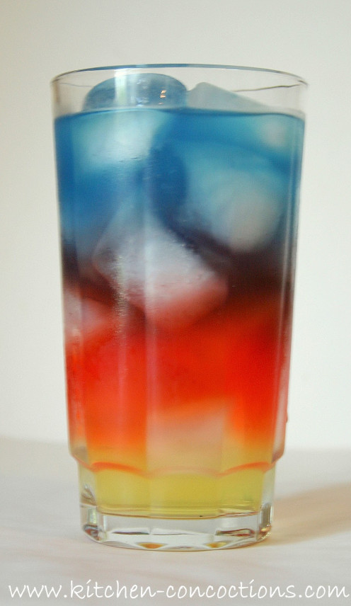 Yellow, Red, and Blue layered drink