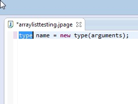 Fill in the statement fields. type is ArrayList. We used list for the name.