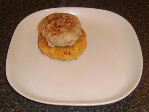 Pork burger on potato cake