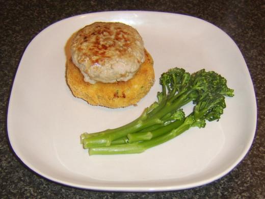 Tenderstem broccoli is laid on plate