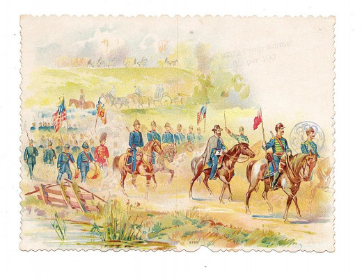 Watercolor postcard of an army on the march