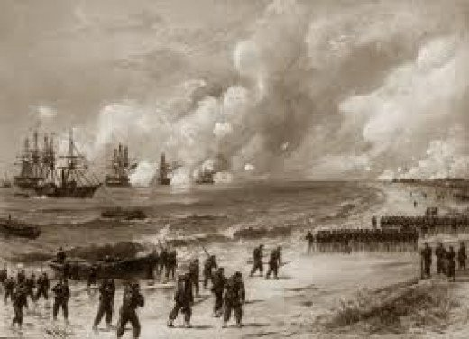 Sketch - troops land ashore from ocean-going vessels