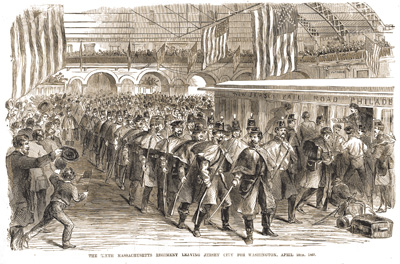 Sketch - troops board a train to Washington City