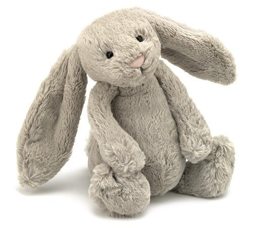 Bashful Beige Bunny, by Jellycat, is one of the top-rated stuffed bunnies on Amazon, and would work well for a young child.