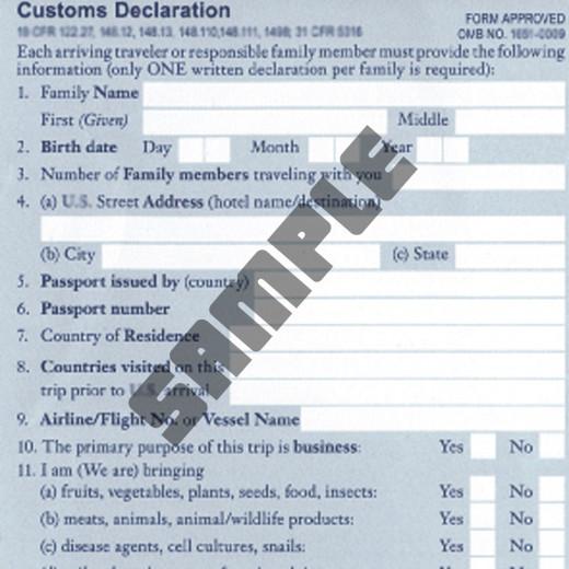 Sample of a customs declaration.