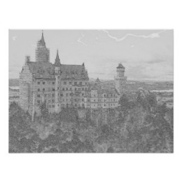 Black and White Neuschwanstein Poster