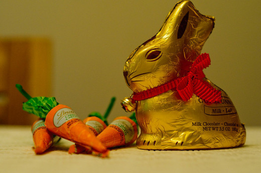 Lindt chocolate bunny and carrots