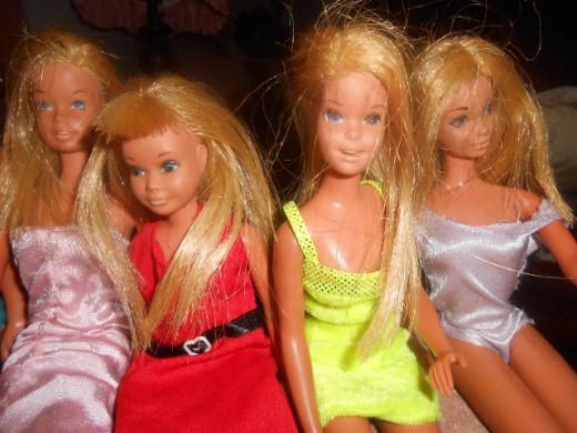 Barbie, sister Skipper, cousin Francie, and friend P.J.