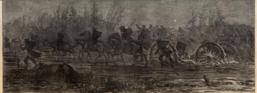 Sketch - Artillery struggles along a muddy road