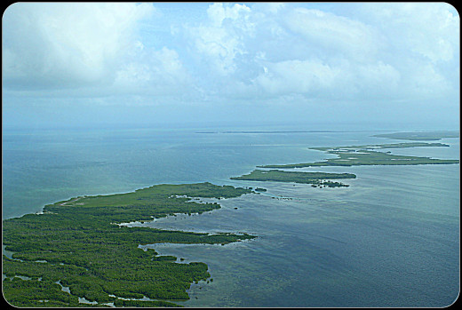 Flying over the cayes