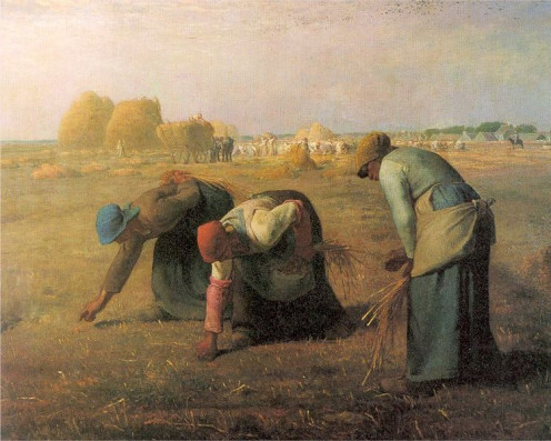 The Gleaners, by Jean-François Millet, 1857: a cloth bonnet substitutes for a head kerchief http://en.wikipedia.org/wiki/File:Millet_Gleaners.jpg