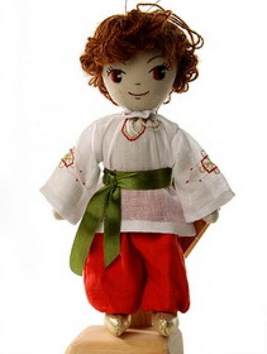 Pretty hair style on a rag doll