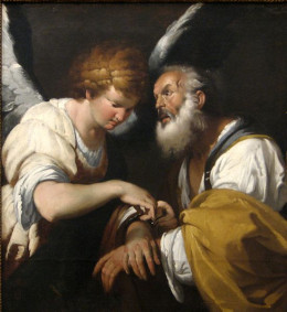 """""""The Release of St. Peter"""" - oil on canvas by Bernado Strozzi (1581-1644)"""