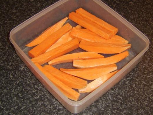 Sweet potato chips ready for the fridge