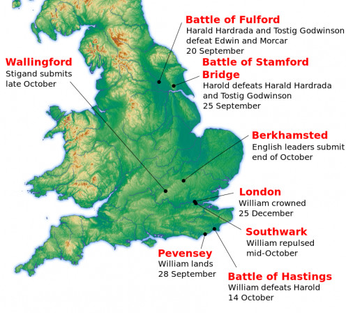 Beginning with the Norse attack on York, September 20th, reversal at Stamford Bridge 25th, Harold's fall near Hastings October 14th... this would be the thin end of the wedge that saw William as king by Christmas 1066
