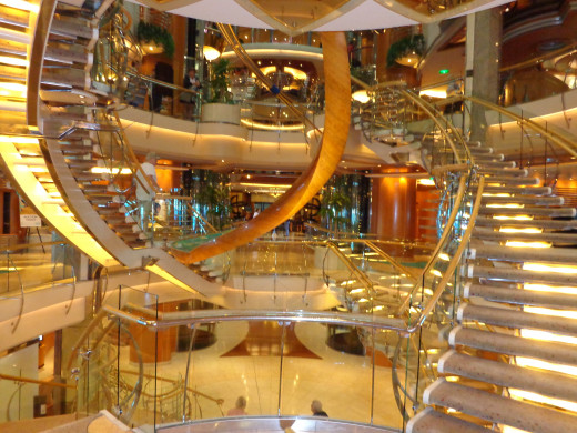 Beautiful Staircase Inside the Cruise Ship