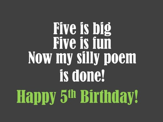 Silly 5th Birthday Poem